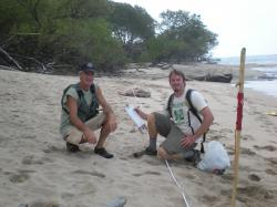 Chris Pincetich (right) measures the size and quality of leatherback sea turtle nesting sites during a 2011 research trip to Guanacaste, Costa Rica. Pincetich is pictured with Marc Ward (left) director of Oregon-based nonprofit Sea Turtles Forever.