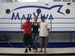Allan Bolaños, Ilena Zanela and Randall Arauz, on board the Proteus of Marviva