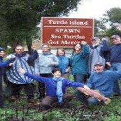 Volunteers and staff of Sea Turtle Restoration Project and SPAWN wear blue for the oceans, sea turtles, salmon and all marine life! Mitch Todd photo. Rear L to R: Teri Shore, Maeve Murphy, Scott Wolland, Lisa Whitaker, Buffy Martin Tarbox, Erica Heimberg, Todd Steiner, Mel Wright, Tom Yarrish Front, L to R, Madeline Rose and Chris Pincetich.