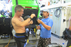 Dr. Hearn prepares for a research dive.