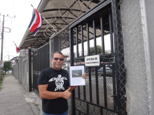International Policy Director Randall Arauz delivering petition signatures in Costa Rica