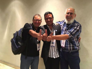 L to R: International Director of Turtle Island Randall Arauz, Eduardo Espinosa, a member of MigraMar & the Galapagos National Park director, & our Executive Director Todd Steiner.)