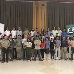 Photo of participants from first Cocos-Galapagos Swimway meeting. Pictures are representatives from the governments of Ecuador and Costa Rica as well as representatives of Colombia and Panama, MigraMar and Turtle Island Restoration Network.