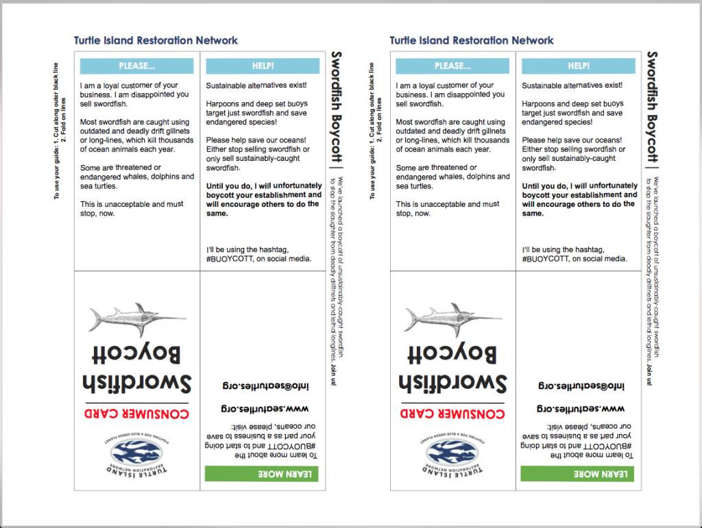 Swordfish Boycott Consumer Card