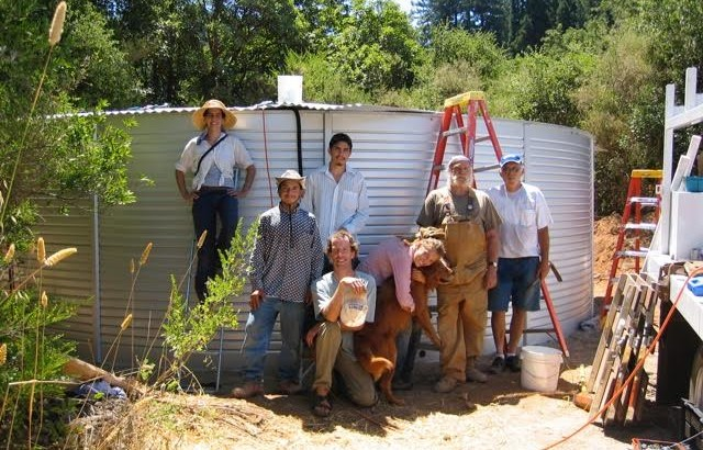 A mix of volunteers from SPAWN, the Lagunitas School Board, and the community after installing the 30,000 gallon rainwater collection system in 2006.