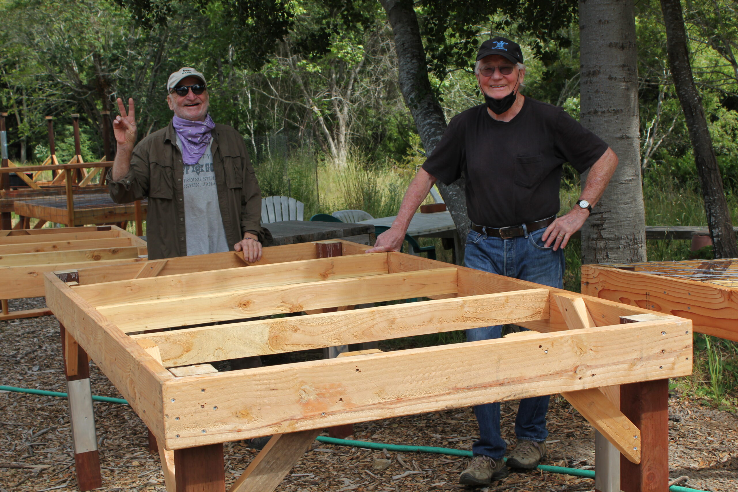 Volunteers Build New Tables for SPAWN's Native Plant Nursery